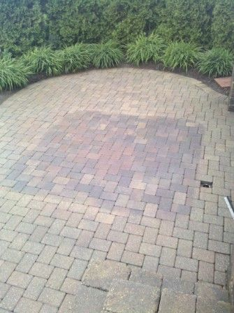 sun faded brick pavers