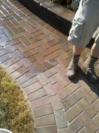 Before and After Brick Paver Sealing In Illinois. Wet look sealer