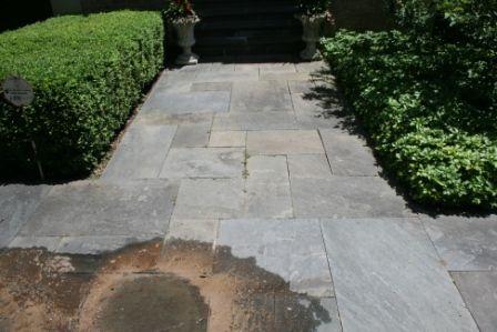 Moldy and dirty bluestone natural walkway/patio